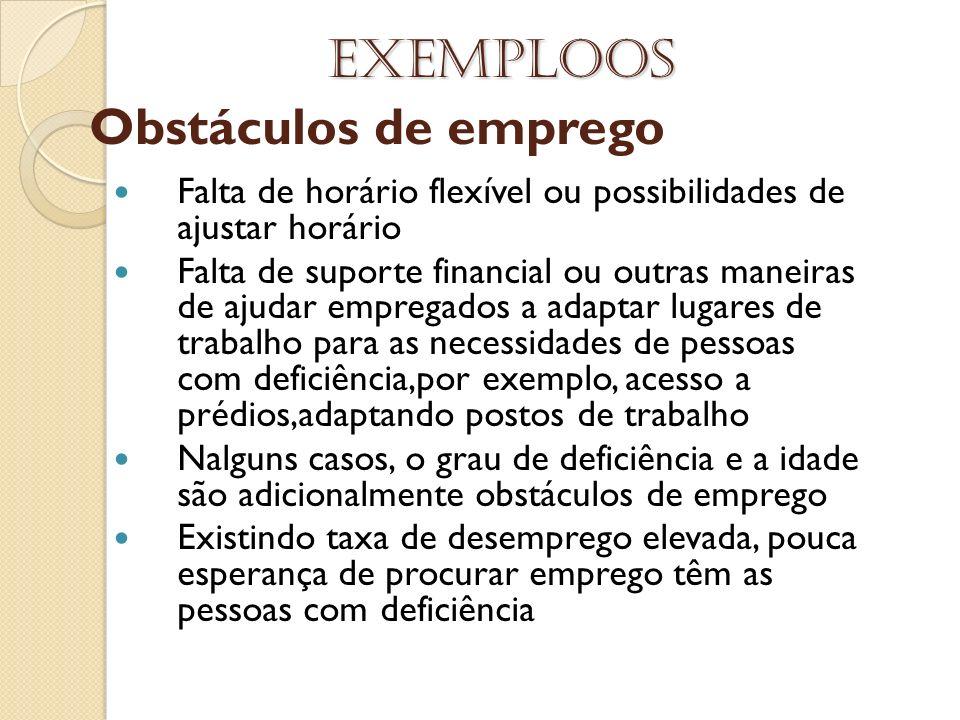 Obstáculos de emprego Exemploos Falta de horário flexível ou possibilidades de ajustar horário Falta de suporte financial ou outras maneiras de ajudar