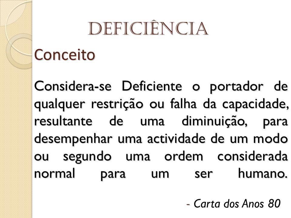 Deficiência Conceito Considera-se Deficiente o portador de qualquer restrição ou falha da capacidade, resultante de uma diminuição, para desempenhar u