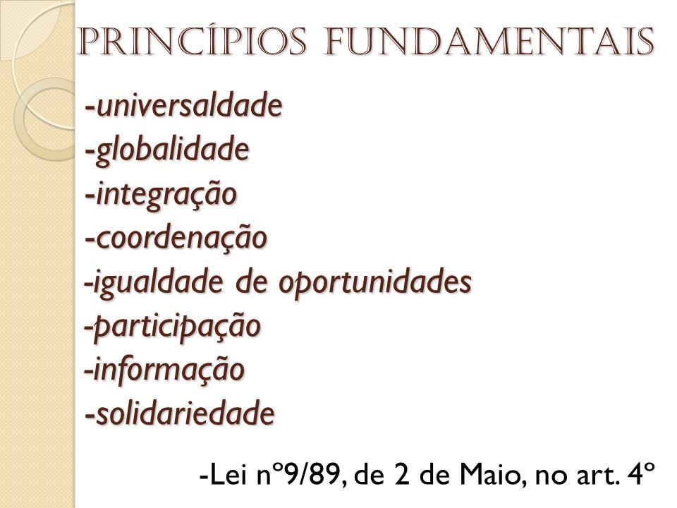 -universaldade -globalidade -integração -coordenação -igualdade de oportunidades -participação -informação -solidariedade Princípios fundamentais -Lei