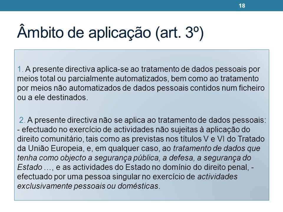 Âmbito de aplicação (art.3º) 1.