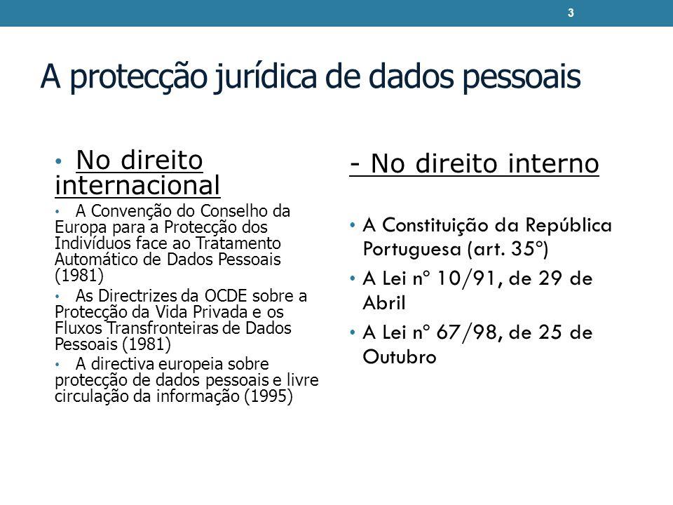 A protecção jurídica de dados pessoais No direito internacional A Convenção do Conselho da Europa para a Protecção dos Indivíduos face ao Tratamento Automático de Dados Pessoais (1981) As Directrizes da OCDE sobre a Protecção da Vida Privada e os Fluxos Transfronteiras de Dados Pessoais (1981) A directiva europeia sobre protecção de dados pessoais e livre circulação da informação (1995) - No direito interno A Constituição da República Portuguesa (art.