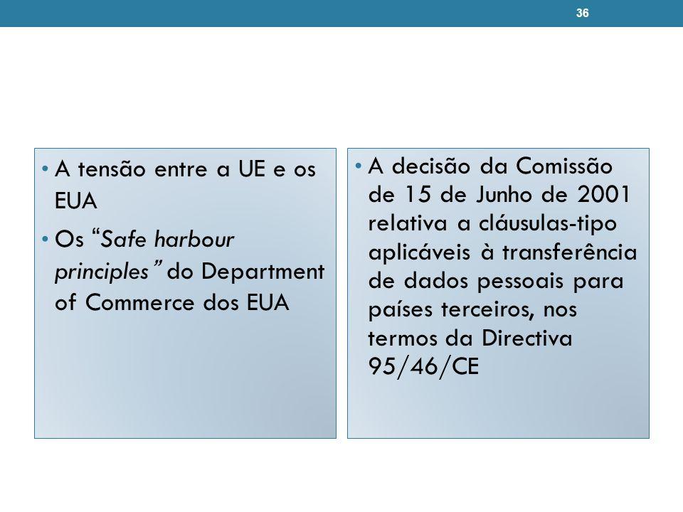 A tensão entre a UE e os EUA Os Safe harbour principles do Department of Commerce dos EUA A decisão da Comissão de 15 de Junho de 2001 relativa a cláusulas-tipo aplicáveis à transferência de dados pessoais para países terceiros, nos termos da Directiva 95/46/CE 36