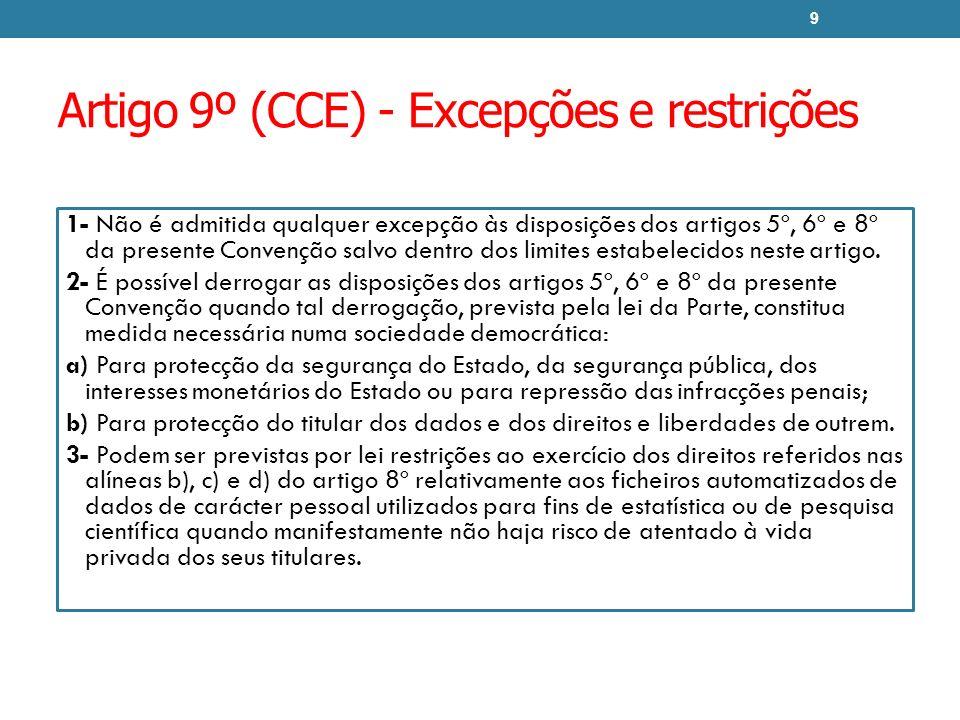Artigo 9º (CCE) - Excepções e restrições 1- Não é admitida qualquer excepção às disposições dos artigos 5º, 6º e 8º da presente Convenção salvo dentro dos limites estabelecidos neste artigo.