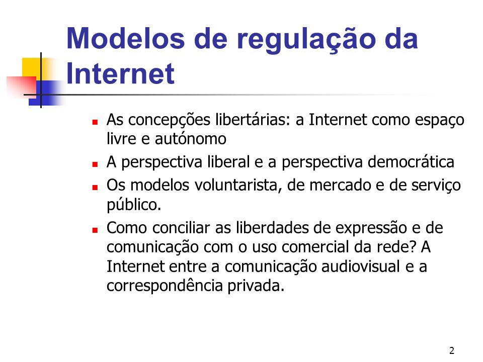2 Modelos de regulação da Internet As concepções libertárias: a Internet como espaço livre e autónomo A perspectiva liberal e a perspectiva democrátic