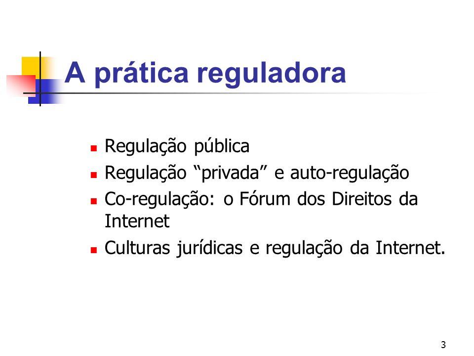 3 A prática reguladora Regulação pública Regulação privada e auto-regulação Co-regulação: o Fórum dos Direitos da Internet Culturas jurídicas e regula