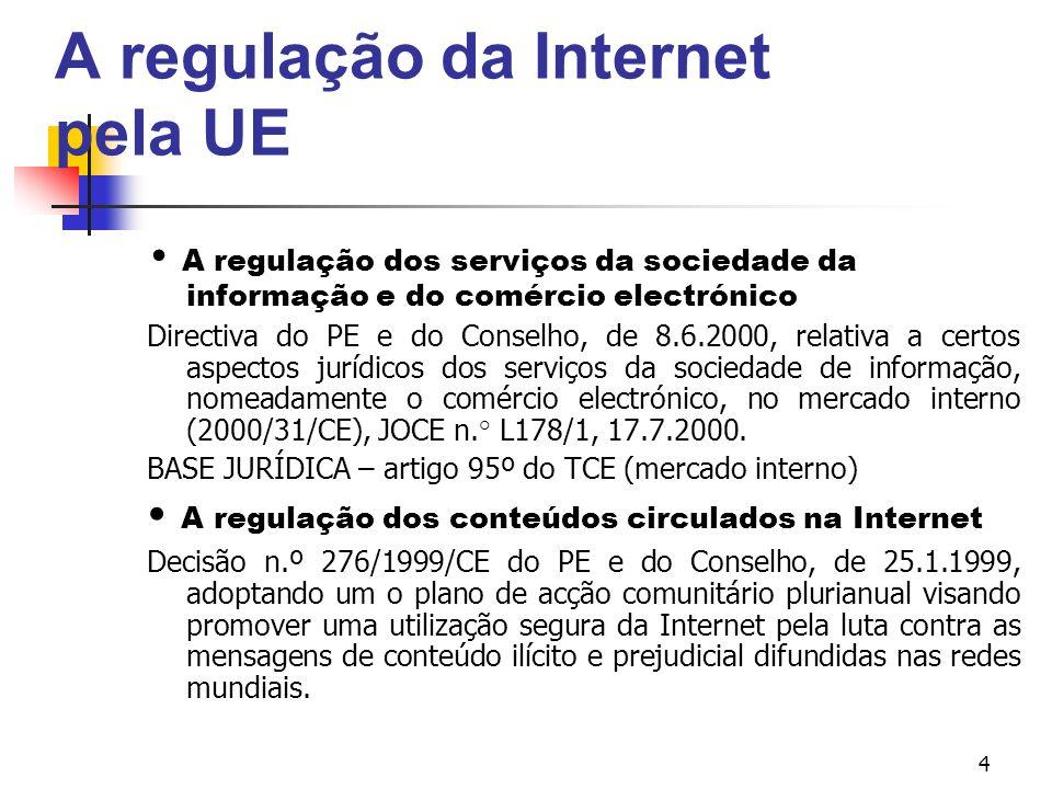 4 A regulação da Internet pela UE A regulação dos serviços da sociedade da informação e do comércio electrónico Directiva do PE e do Conselho, de 8.6.