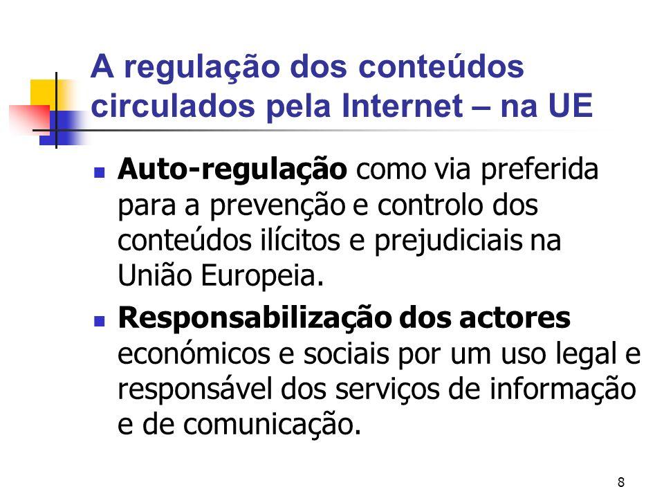 9 A regulação dos conteúdos circulados pela Internet – na UE O Plano de acção visando promover uma utilização segura da Internet pela luta contra as mensagens de conteúdo ilícito e prejudicial difundidas nas redes.