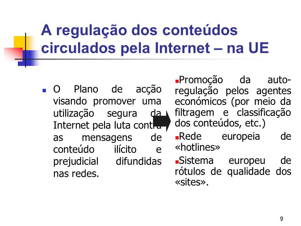 9 A regulação dos conteúdos circulados pela Internet – na UE O Plano de acção visando promover uma utilização segura da Internet pela luta contra as m