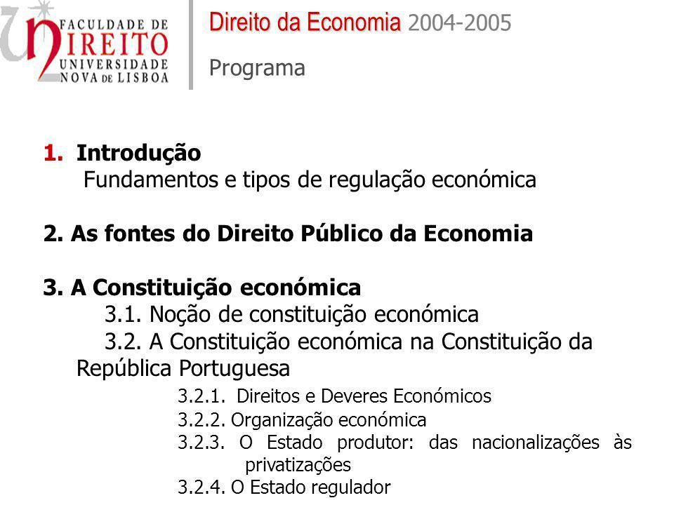Direito da Economia Direito da Economia 2004-2005 Programa 1.Introdução Fundamentos e tipos de regulação económica 2. As fontes do Direito Público da