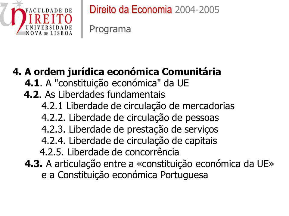 Direito da Economia Direito da Economia 2004-2005 Programa 4. A ordem jurídica económica Comunitária 4.1. A