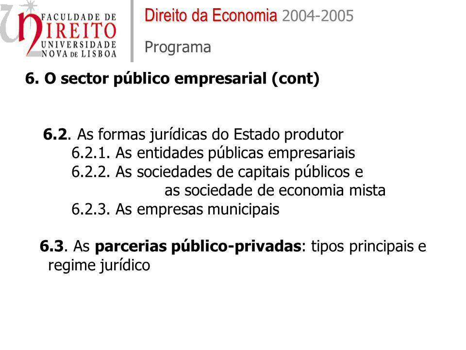 Direito da Economia Direito da Economia 2004-2005 Programa 6. O sector público empresarial (cont) 6.2. As formas jurídicas do Estado produtor 6.2.1. A