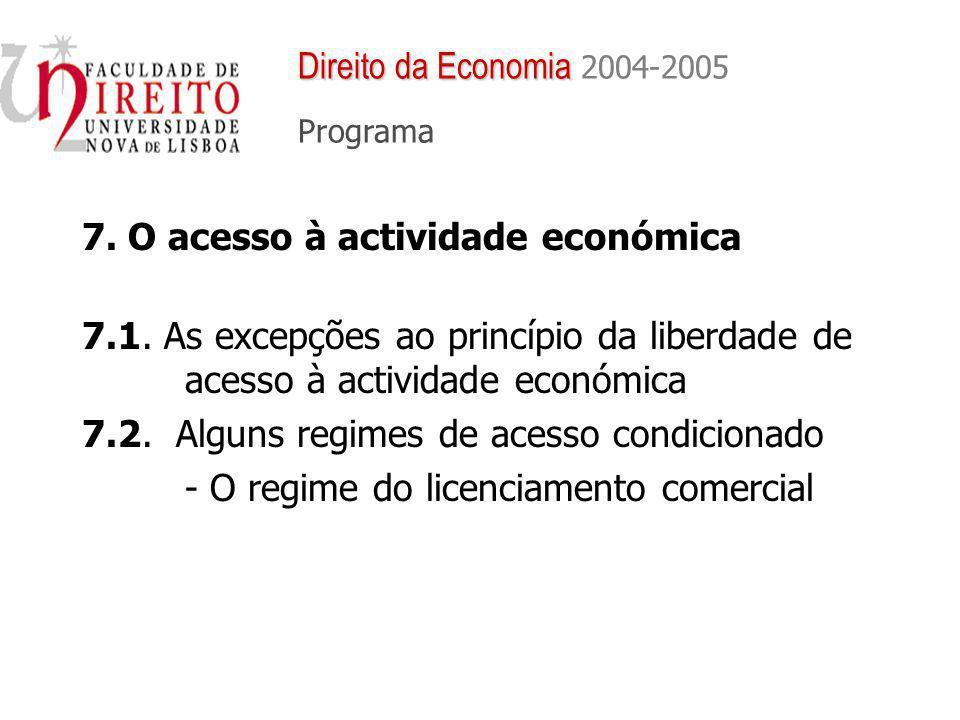 7. O acesso à actividade económica 7.1. As excepções ao princípio da liberdade de acesso à actividade económica 7.2. Alguns regimes de acesso condicio