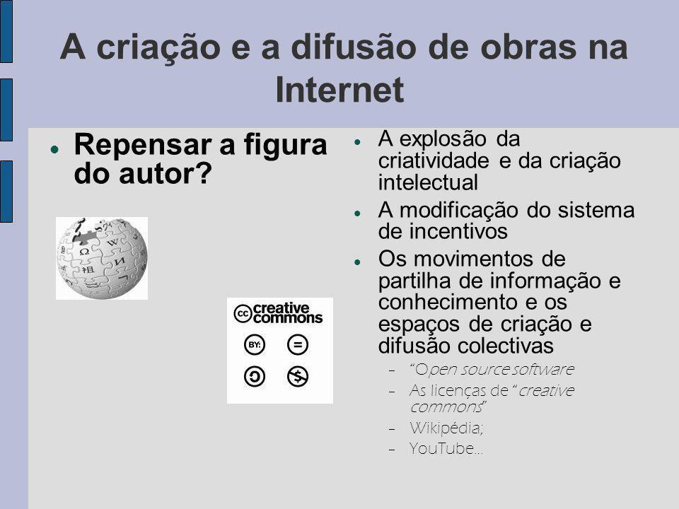 A criação e a difusão de obras na Internet Repensar a figura do autor.