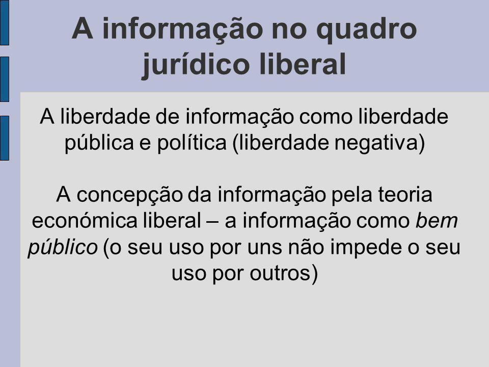 A informação no quadro jurídico liberal A liberdade de informação como liberdade pública e política (liberdade negativa) A concepção da informação pela teoria económica liberal – a informação como bem público (o seu uso por uns não impede o seu uso por outros)