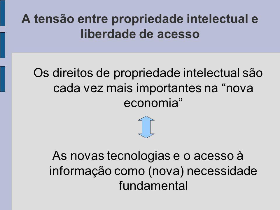 A tensão entre propriedade intelectual e liberdade de acesso Os direitos de propriedade intelectual são cada vez mais importantes na nova economia As novas tecnologias e o acesso à informação como (nova) necessidade fundamental