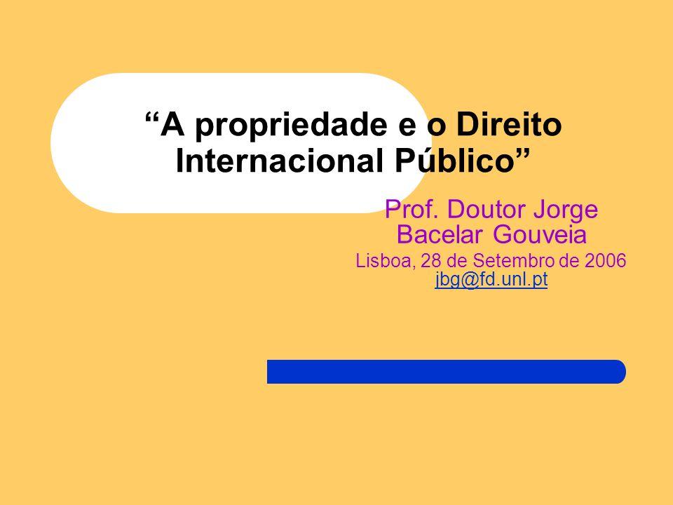 A propriedade e o Direito Internacional Público Prof.