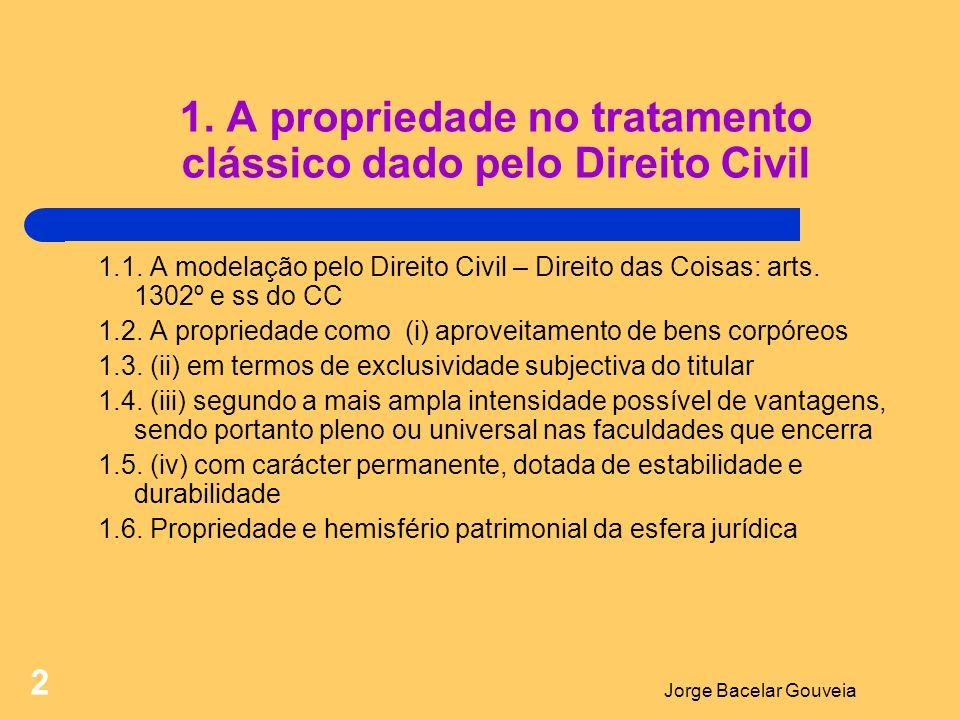 Jorge Bacelar Gouveia 2 1.A propriedade no tratamento clássico dado pelo Direito Civil 1.1.