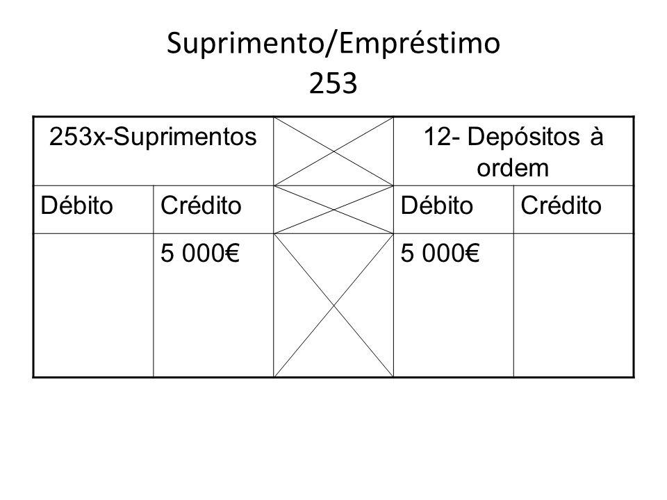 Suprimento/Empréstimo 253 253x-Suprimentos12- Depósitos à ordem DébitoCréditoDébitoCrédito 5 000