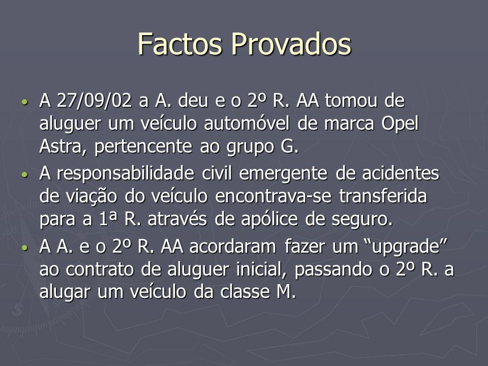 Factos Provados A 26/10/02, pelas 03h10, o 2º R., quando conduzia o veículo perdeu o seu controlo indo embater de frente numa arrecadação própria para guarda de garrafas de gás.