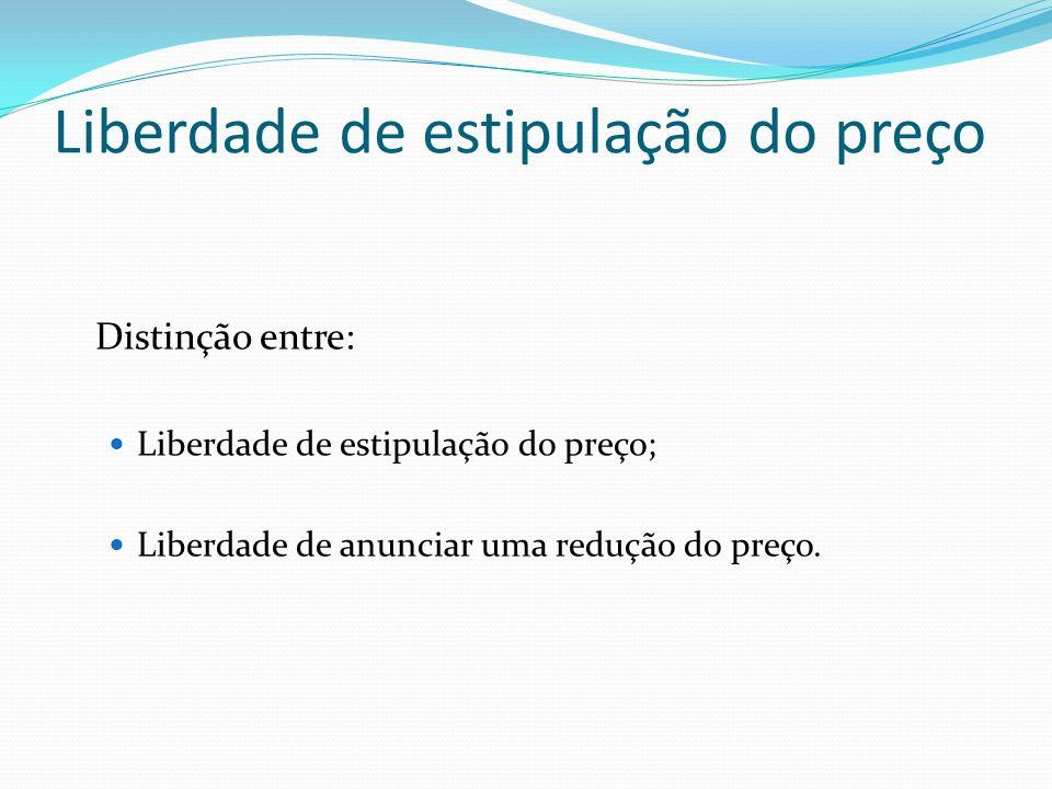 Liberdade de estipulação do preço Distinção entre: Liberdade de estipulação do preço; Liberdade de anunciar uma redução do preço.