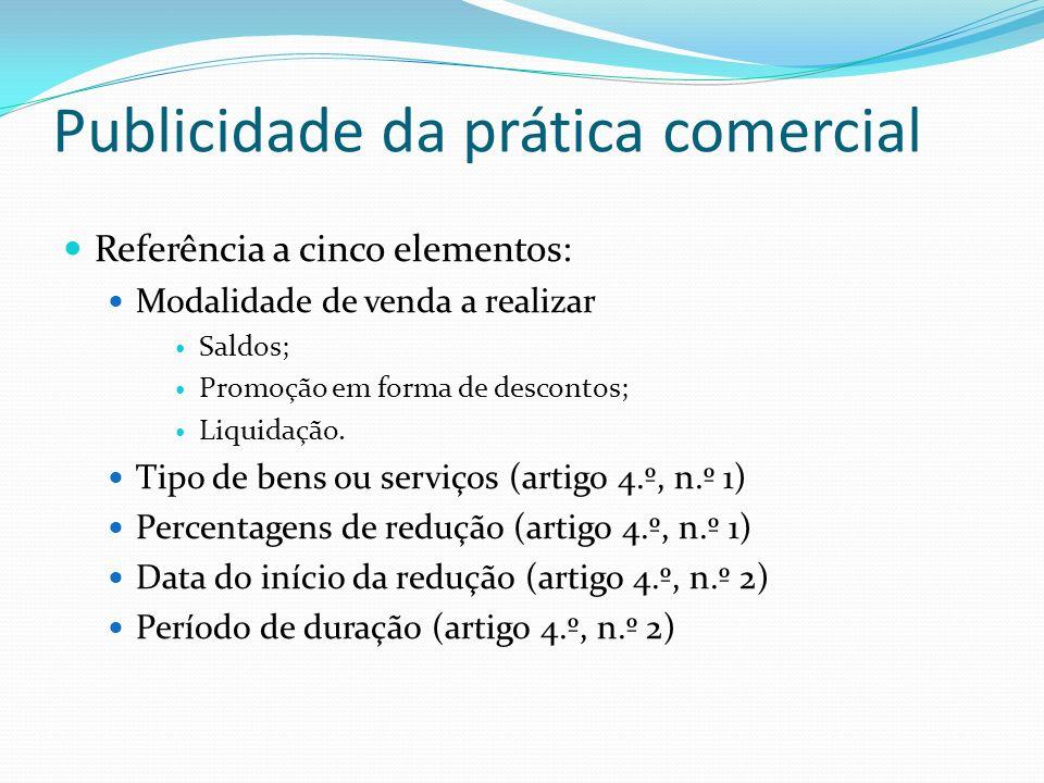 Publicidade da prática comercial Referência a cinco elementos: Modalidade de venda a realizar Saldos; Promoção em forma de descontos; Liquidação. Tipo