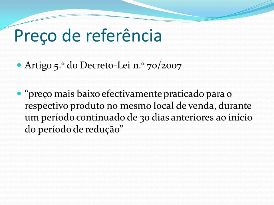 Preço de referência Artigo 5.º do Decreto-Lei n.º 70/2007 preço mais baixo efectivamente praticado para o respectivo produto no mesmo local de venda,