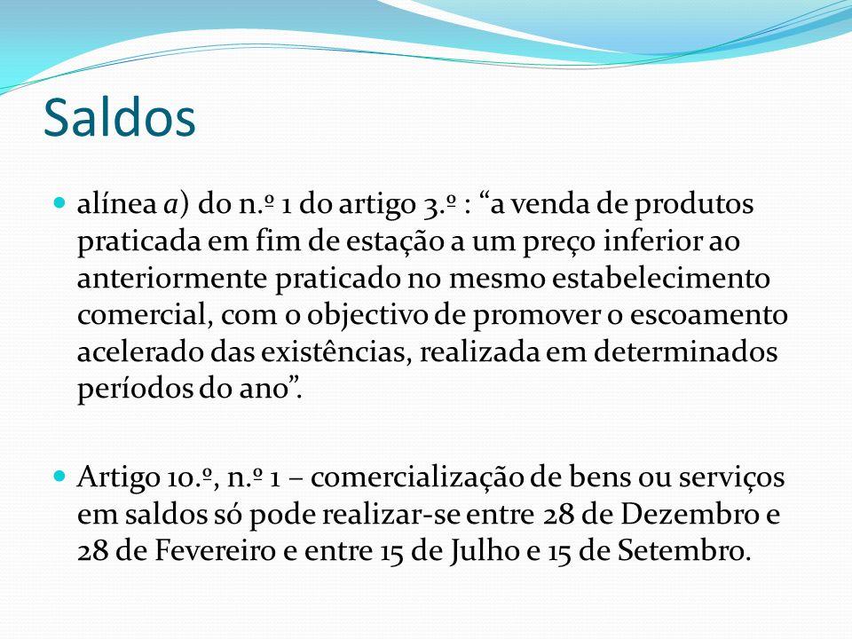 Saldos alínea a) do n.º 1 do artigo 3.º : a venda de produtos praticada em fim de estação a um preço inferior ao anteriormente praticado no mesmo esta