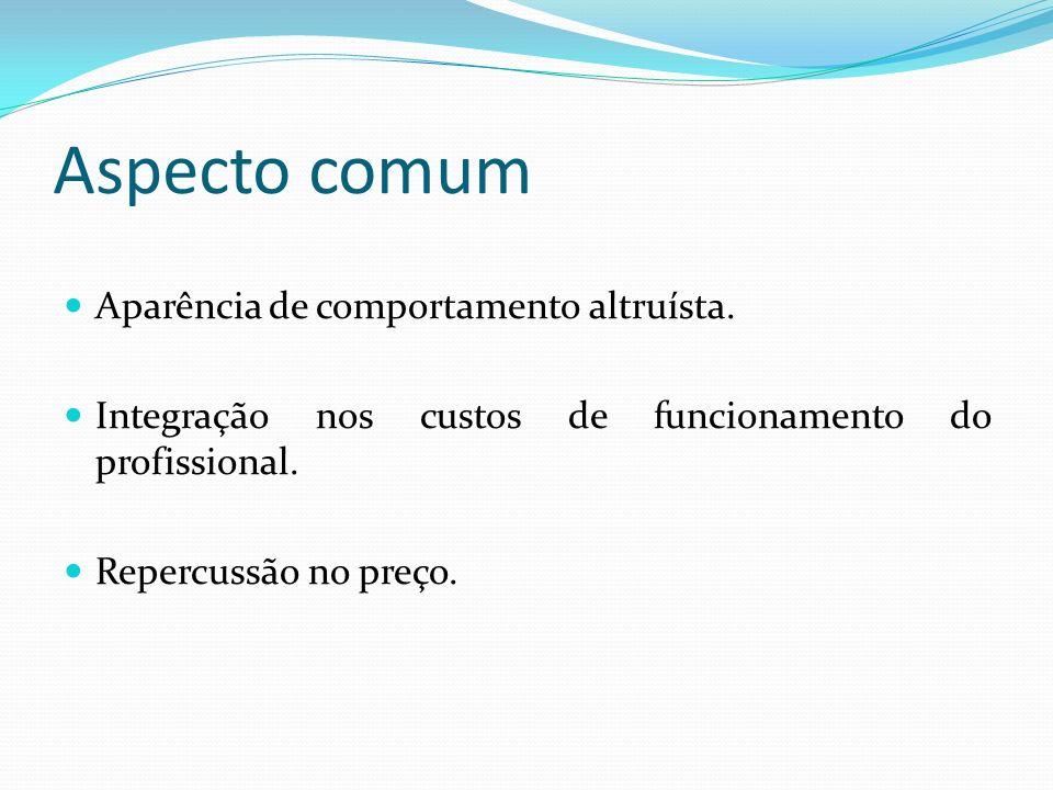 Aspecto comum Aparência de comportamento altruísta. Integração nos custos de funcionamento do profissional. Repercussão no preço.