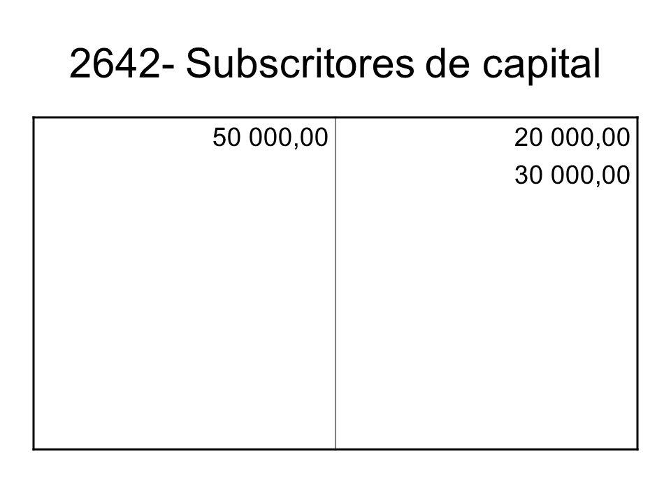 2642- Subscritores de capital 50 000,0020 000,00 30 000,00