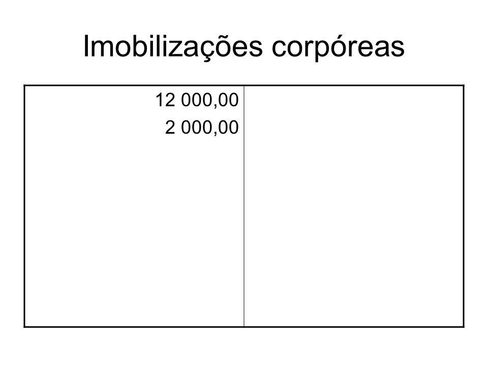 Imobilizações corpóreas 12 000,00 2 000,00