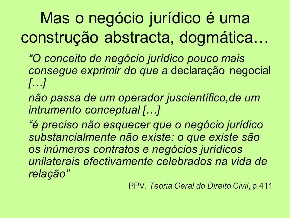 Mas o negócio jurídico é uma construção abstracta, dogmática… O conceito de negócio jurídico pouco mais consegue exprimir do que a declaração negocial […] não passa de um operador juscientífico,de um intrumento conceptual […] é preciso não esquecer que o negócio jurídico substancialmente não existe: o que existe são os inúmeros contratos e negócios jurídicos unilaterais efectivamente celebrados na vida de relação PPV, Teoria Geral do Direito Civil, p.411