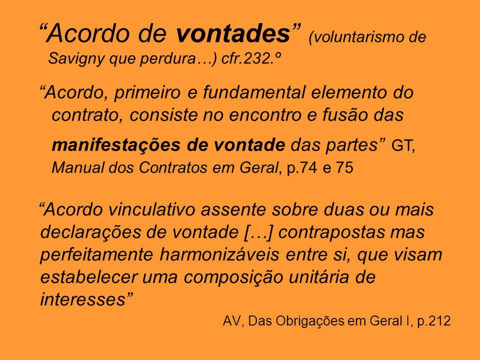 Acordo de vontades (voluntarismo de Savigny que perdura…) cfr.232.º Acordo, primeiro e fundamental elemento do contrato, consiste no encontro e fusão das manifestações de vontade das partes GT, Manual dos Contratos em Geral, p.74 e 75 Acordo vinculativo assente sobre duas ou mais declarações de vontade […] contrapostas mas perfeitamente harmonizáveis entre si, que visam estabelecer uma composição unitária de interesses AV, Das Obrigações em Geral I, p.212