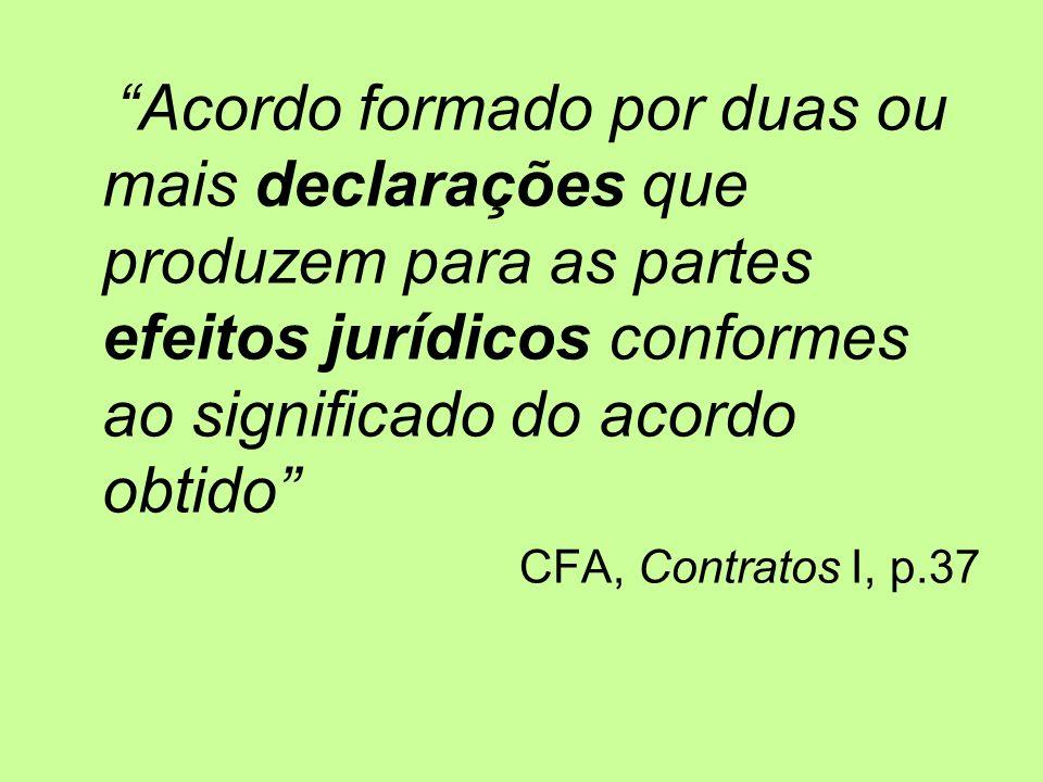 Acordo formado por duas ou mais declarações que produzem para as partes efeitos jurídicos conformes ao significado do acordo obtido CFA, Contratos I, p.37