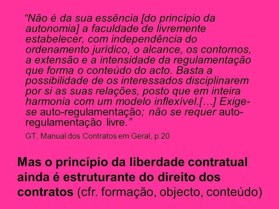 Não é da sua essência [do princípio da autonomia] a faculdade de livremente estabelecer, com independência do ordenamento jurídico, o alcance, os contornos, a extensão e a intensidade da regulamentação que forma o conteúdo do acto.