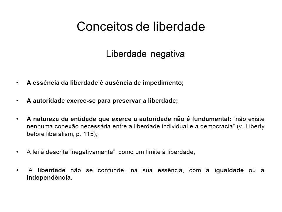 Conceitos de liberdade Liberdade negativa A essência da liberdade é ausência de impedimento; A autoridade exerce-se para preservar a liberdade; A natu