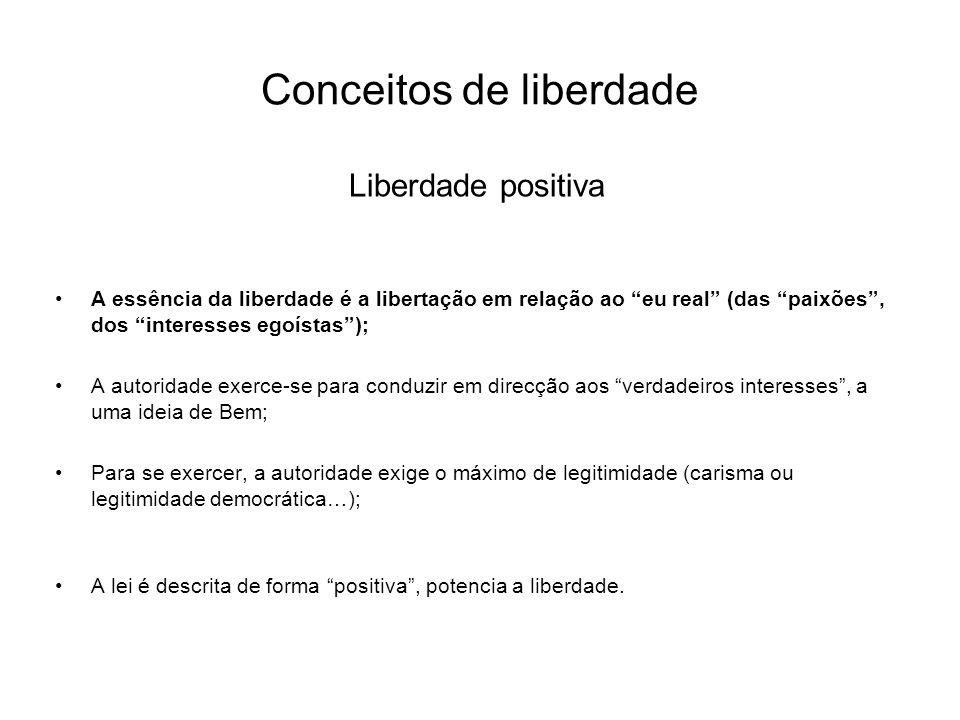 Conceitos de liberdade Liberdade positiva A essência da liberdade é a libertação em relação ao eu real (das paixões, dos interesses egoístas); A autor