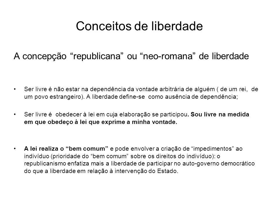 Conceitos de liberdade A concepção republicana ou neo-romana de liberdade Ser livre é não estar na dependência da vontade arbitrária de alguém ( de um