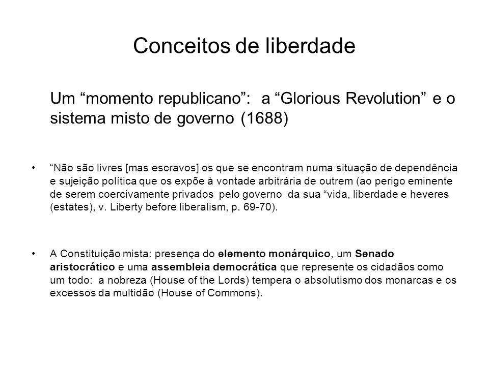 Conceitos de liberdade Um momento liberal: Thomas Hobbes e o Leviathan para se ser livre enquanto membro de uma associação civil basta não se ser impedido de exercer as nossas capacidades e prosseguir os fins por nós desejados.
