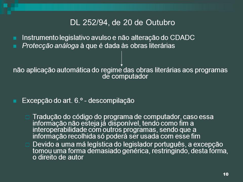 10 DL 252/94, de 20 de Outubro Instrumento legislativo avulso e não alteração do CDADC Protecção análoga à que é dada às obras literárias não aplicaçã