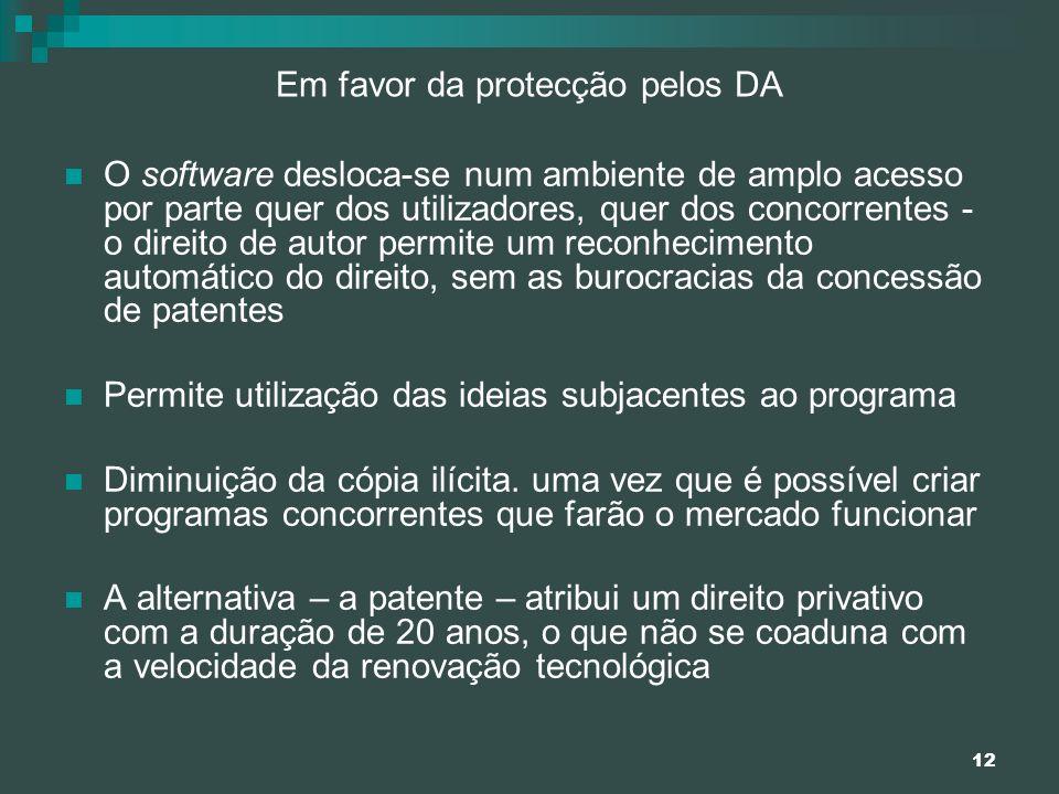 12 Em favor da protecção pelos DA O software desloca-se num ambiente de amplo acesso por parte quer dos utilizadores, quer dos concorrentes - o direit