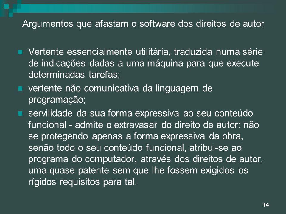 14 Argumentos que afastam o software dos direitos de autor Vertente essencialmente utilitária, traduzida numa série de indicações dadas a uma máquina