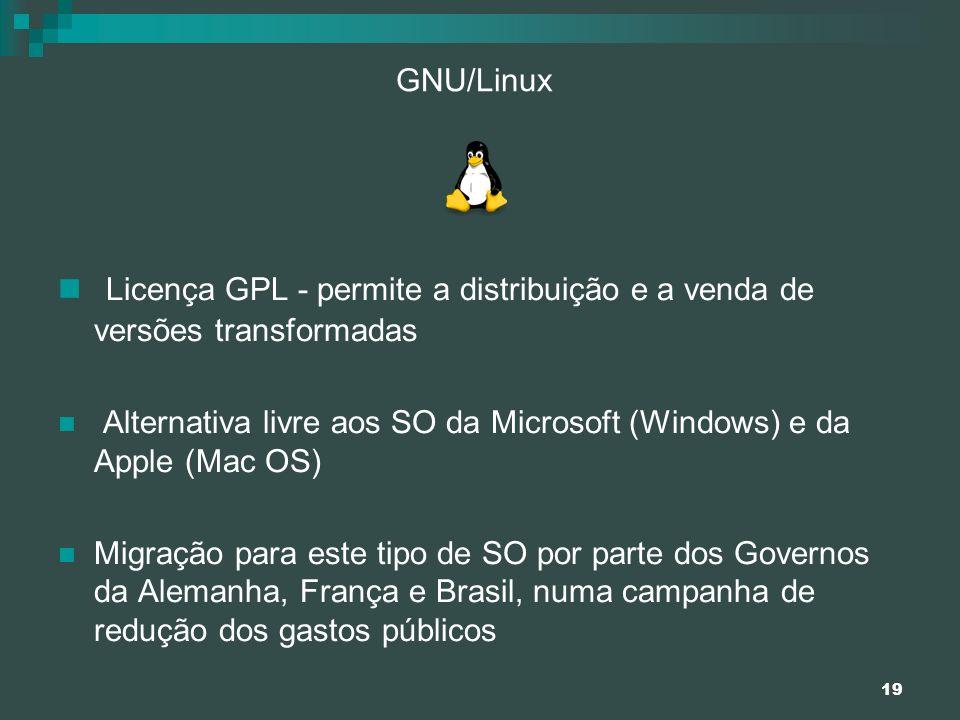 19 GNU/Linux Licença GPL - permite a distribuição e a venda de versões transformadas Alternativa livre aos SO da Microsoft (Windows) e da Apple (Mac O