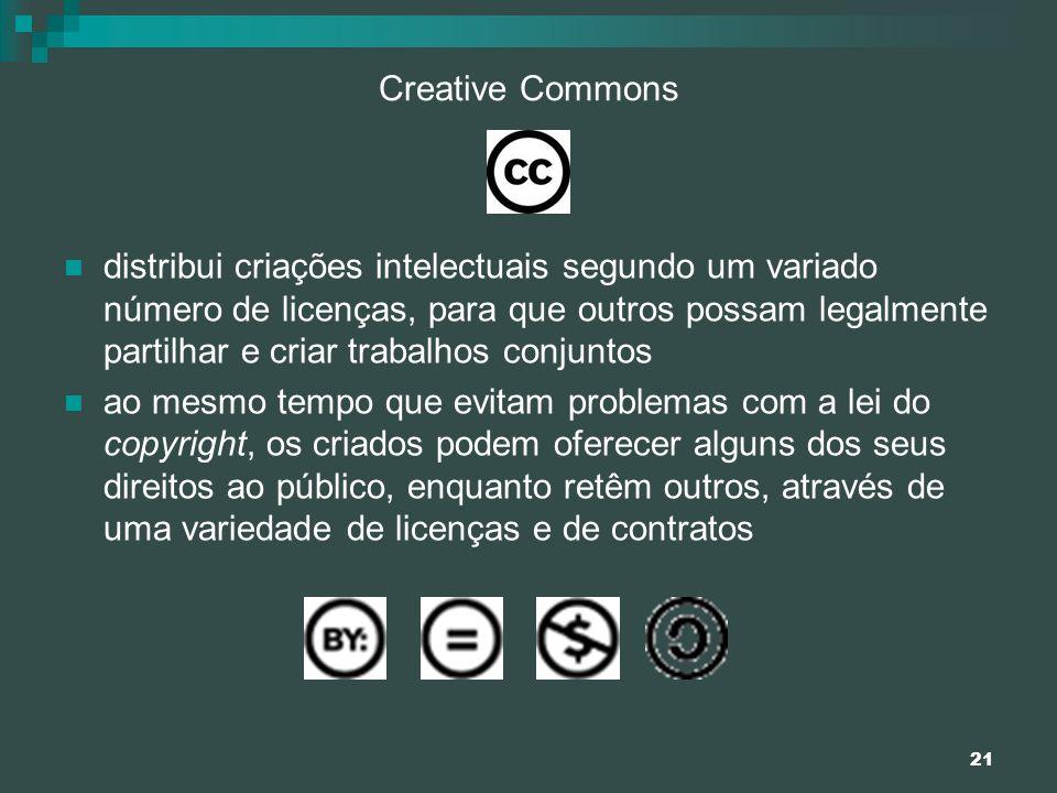 21 Creative Commons distribui criações intelectuais segundo um variado número de licenças, para que outros possam legalmente partilhar e criar trabalh