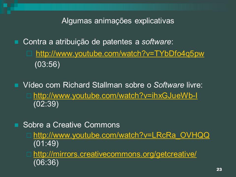 23 Algumas animações explicativas Contra a atribuição de patentes a software: http://www.youtube.com/watch?v=TYbDfo4q5pw (03:56) Vídeo com Richard Sta