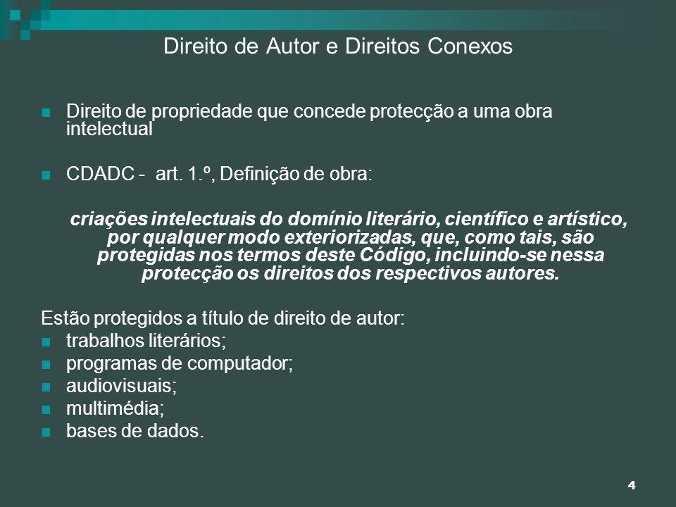 4 Direito de Autor e Direitos Conexos Direito de propriedade que concede protecção a uma obra intelectual CDADC - art. 1.º, Definição de obra: criaçõe