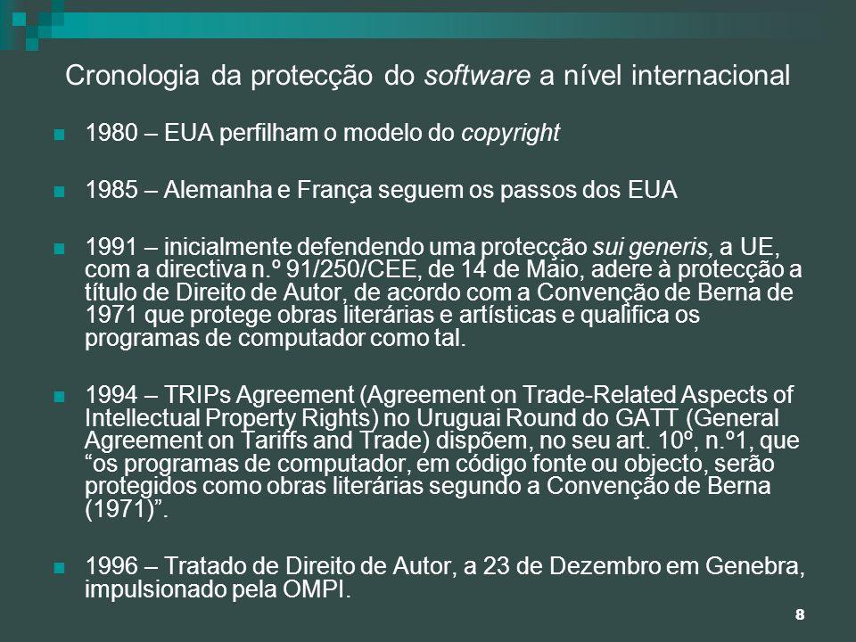 8 Cronologia da protecção do software a nível internacional 1980 – EUA perfilham o modelo do copyright 1985 – Alemanha e França seguem os passos dos E