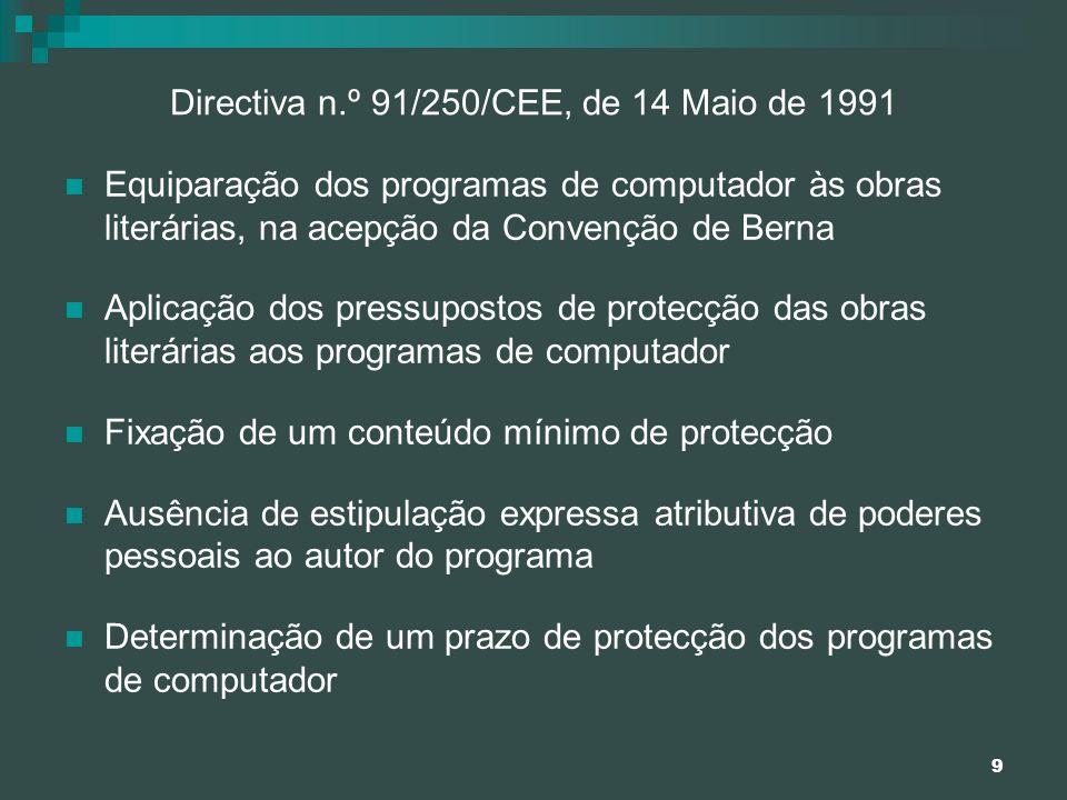 9 Directiva n.º 91/250/CEE, de 14 Maio de 1991 Equiparação dos programas de computador às obras literárias, na acepção da Convenção de Berna Aplicação