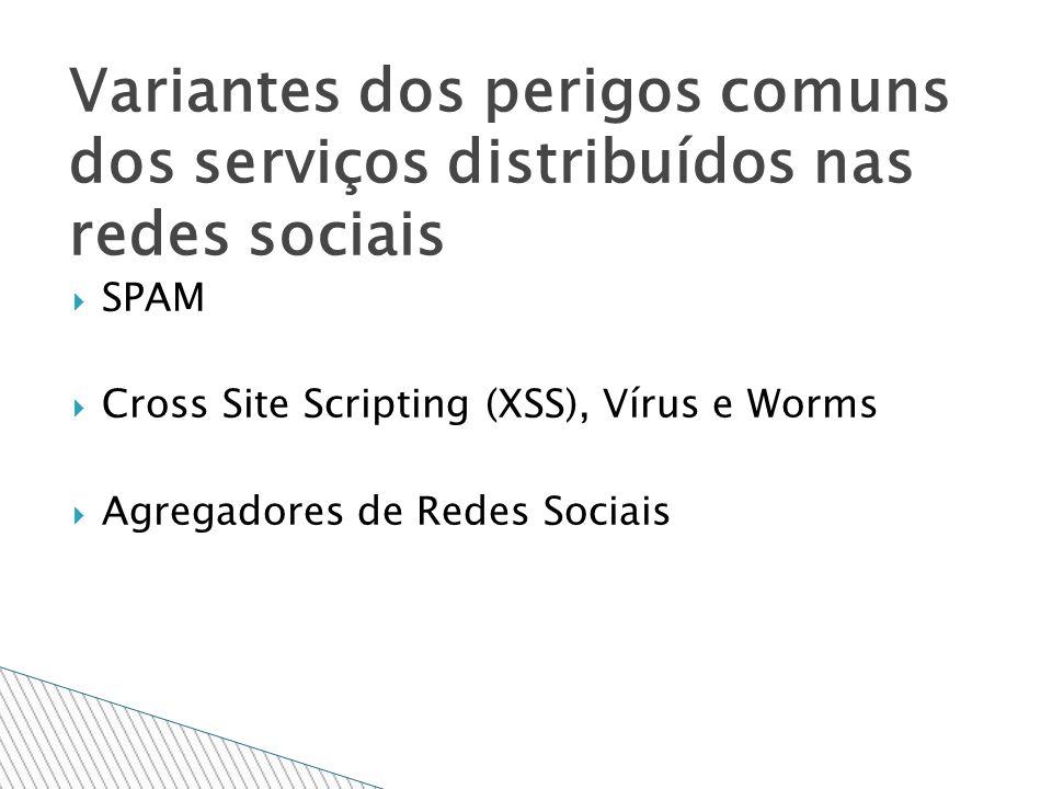 SPAM Cross Site Scripting (XSS), Vírus e Worms Agregadores de Redes Sociais Variantes dos perigos comuns dos serviços distribuídos nas redes sociais