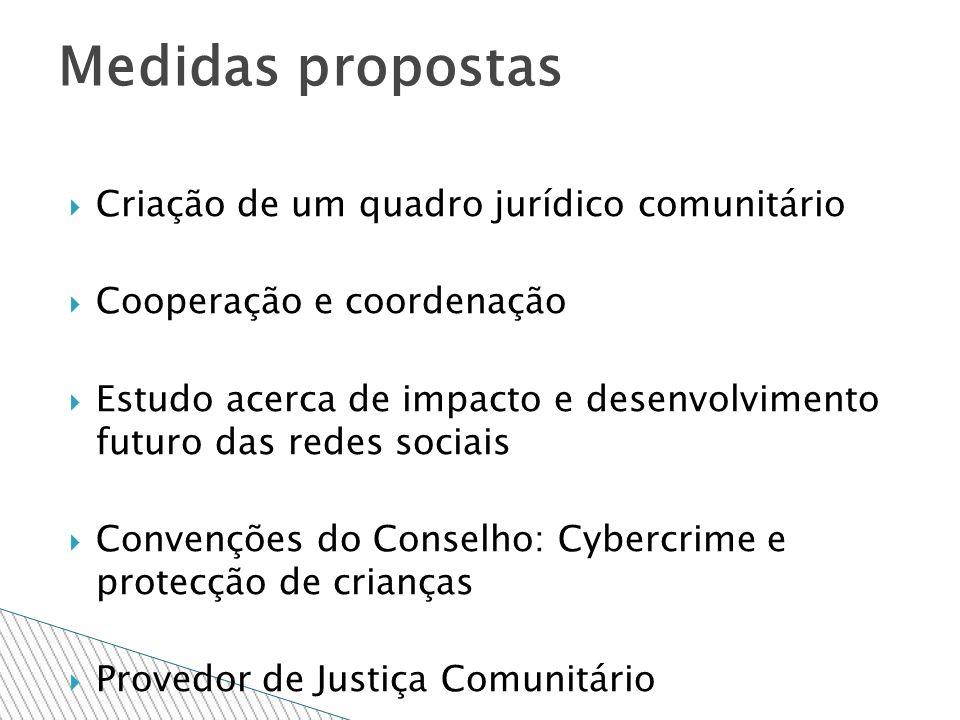 Criação de um quadro jurídico comunitário Cooperação e coordenação Estudo acerca de impacto e desenvolvimento futuro das redes sociais Convenções do Conselho: Cybercrime e protecção de crianças Provedor de Justiça Comunitário Medidas propostas