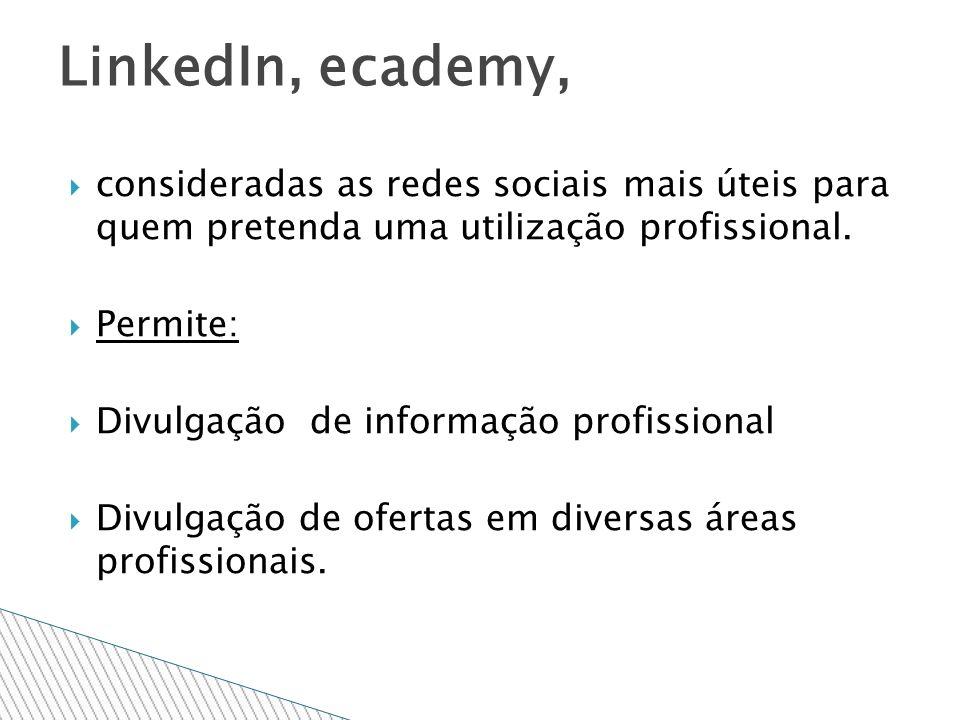 consideradas as redes sociais mais úteis para quem pretenda uma utilização profissional.